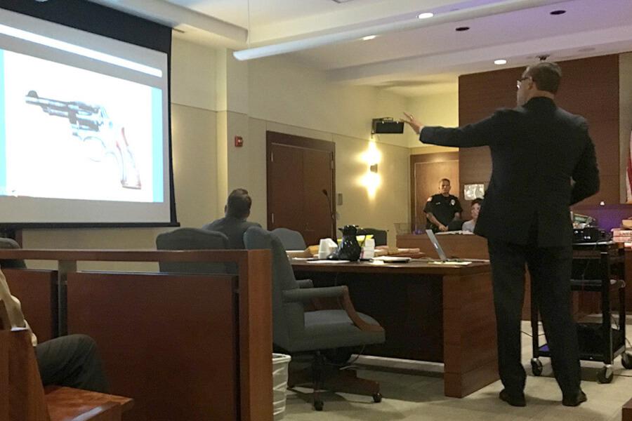 Joseph P.Howard arguing the case of accidental shooting